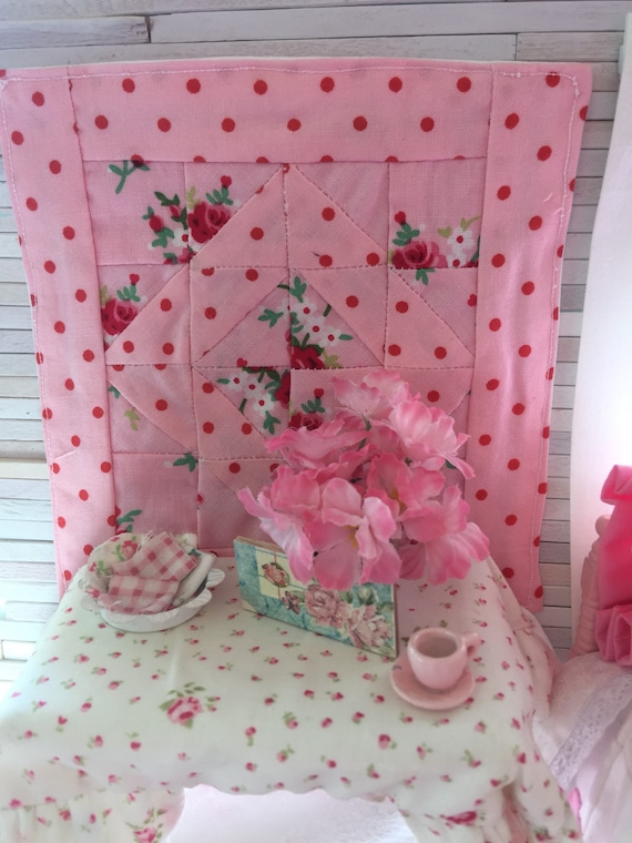 Miniature Pink and Red Patchwork Quilt