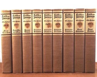 Brown beige books, Elbert Hubbard, book collection, Little Journeys by Elbert Hubbard, vintage books, decorative books, book set, old books