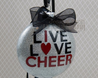 Cheer Christmas Ornament, Personalized Glass Ornament, Christmas Ornament, Cheerleading, Christmas Gift, Cheerleading Gift, Holiday Gift