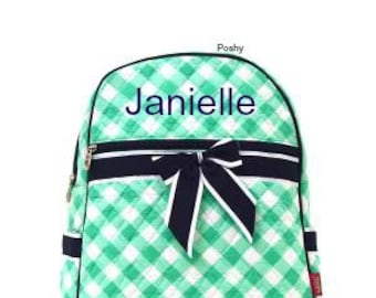SALE Personalized Kids Backpacks Quilted in Mint and Navy Gingham Print
