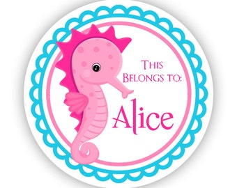 Name Sticker Labels - Aqua Blue, Ocean Sea Creature Fun Pink Seahorse Personalized Name Tag Sticker - Round Tag - Back to School Name Labels