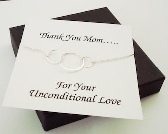 Large Triple Circle Infinity Silver Necklace ~Personalized Jewelry Card for Mom, Mother in Law, Mother of Groom, or Step Mom, Thank You Card
