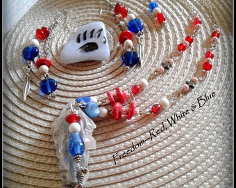 Freedom--Red, White & Blue Necklace and Earrings