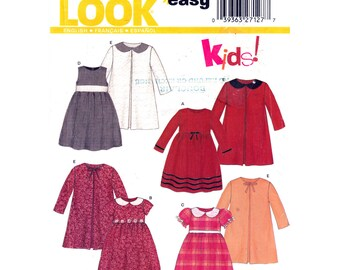 Girls Dress & Jacket Pattern New Look 6309 Empire Dress Peter Pan Collar Puff or Long Sleeves Girls Size 3 4 5 6 7 8 Sewing Pattern UNCUT