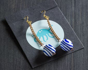 Vintage Parisian Blue and White Striped Candy Drop Earrings with Retro Lucite Beads on Copper Curb Chain with Gold Plated Hooks Jewelry Pair