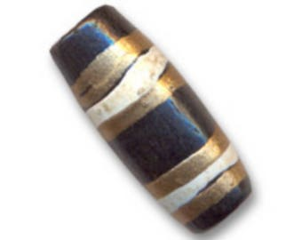 Bone - 18 x 7 mm * 8 decorated cylinder beads