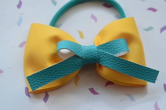 Yellow and aqua faux leather bow - Baby / Toddler / Girls / Kids Headband / Hairband / Hair bow / Barette / Hairclip