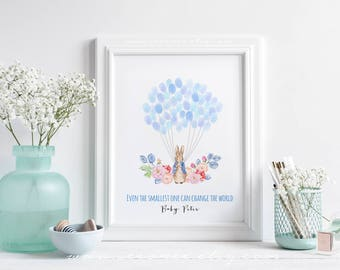 Rabbit Fingerprint guestbook Alternative, Bunny Thumbprint guest book, Peter rabbit Baby shower gift, Birthday gift, Easter day Digital file