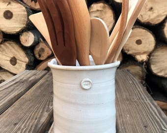 handmade utensil holder, white utensil holder, ceramic utensil holder, wine chiller, crock, storage jar, utensil caddy