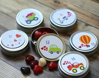 Reusable Magnetic Valentine's Advent Tins / Transportation / 14 Valentine's Count Down Calendar / Valentine's Day Decorations