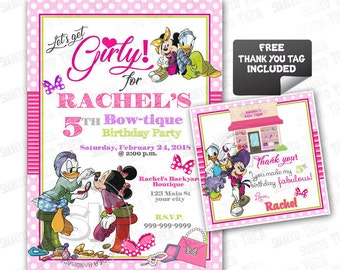 """Minnie Mouse Bow-tique Customized Printable Invitation-Minnie & Daisy Personalized Printable 5""""x7"""" or 4""""x6""""-Baby Shower-Birthday-YOU PRINT"""