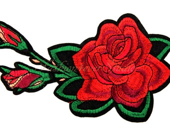 1ps Flower patch, Iron On Rose patch, Red Rose applique, Embroidered flower applique,  Embroider Rose  patches