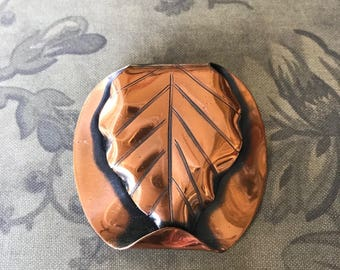 """Vintage Modernist Copper Leaf Brooch Pin, Chunky Dimensional Copper Fall Autumn Brooch Pin, 1 7/8"""" H x 1 5/8""""W"""