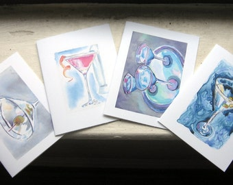 Martini Stationery Card Set - Cocktail Watercolor Art Note Cards, Set of 8