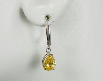 14K White Gold Dangle Citrine Pear Drop Gemstone Lavelier Lever Back Earrings 14KWCITRINE10X7 10X7mm