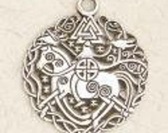 Viking Horse Warrior with Valknut-Norse-Medieval-Silver-Pagan-Pewter-Pendant