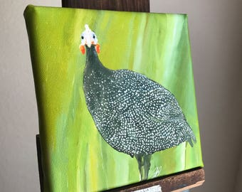 """Canvas reproduction giclee PRINT from my digital painting, """"Guinea Hen with a Look"""""""