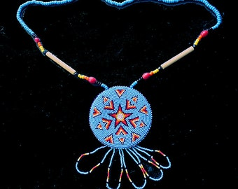 The ArrowStar Medallion, Handmade Vintage Native American Beadwork