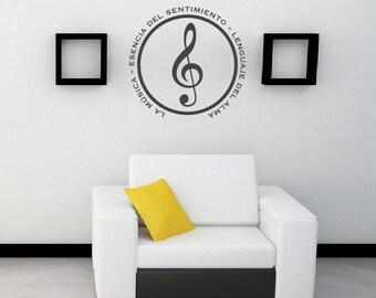 La Música Esencia del Sentimiento Lenguaje del Alma Spanish Wall Decal