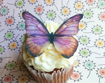 EDIBLE Butterflies The Original - Lavender and Brown - Cake & Cupcake toppers - PRECUT and Ready to Use