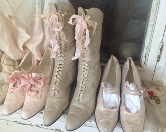 Gorgeous antique Victorian JDL creamy colored leather wedding boots