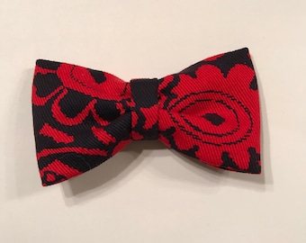 Navy & red floral bow