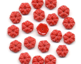 Vintage Red Flower Beads 10mm Flat Back Glass Nailheads Center Hole