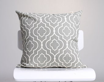 Geometric Patterned Gray Cushion Cover, Moroccan Tile Pillow, Gray Pillow Cover, Contemporary Pillow, Home Decor Pillow / Handmade