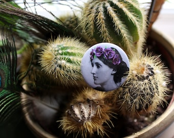 Virginia Woolf in a flower crown 32mm pin back badge