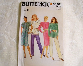 Butterick Pattern - 4162 - Misses Tunic & Dress - Size 14 - Factory Fold, Uncut Pattern