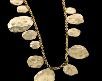 18k solid Gold Necklace,Falling Leaves Necklace, Rich Different Sized 18k Solid Gold Hammered Leavs Necklace, Fine Jewelry, Bridel Jewelry.