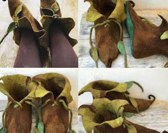 CUSTOM made to order -Elf slippers-pixie shoes- elf shoes-- fairy slippers- fairy shoes-larp- fantasy- fairytale shoes- felted slippers