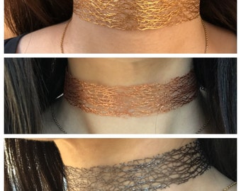 Gold, Rose Gold, Black Delicate Choker Necklace