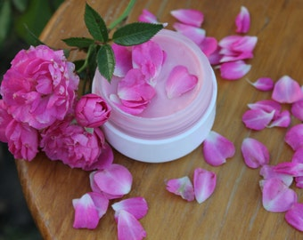 Organic rose rice milk face cream Rose face cream Floral face cream Gentle moisturizing Jojoba oil face cream Vegan face Anti Age face cream