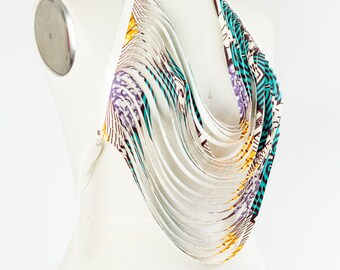 African Print Body Necklace Vegan Leather Aqua and white