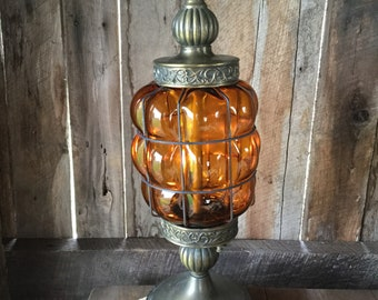 Vintage Lamp, Beach Decor, Vintage Amber Lamp, Vintage Table Lamp, Up And