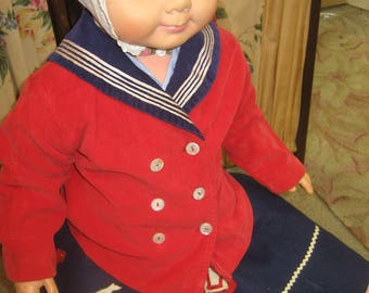 """1940's, 22"""" chest, 3-4 year old, red corduroy sailor jacket with navy blue collar"""
