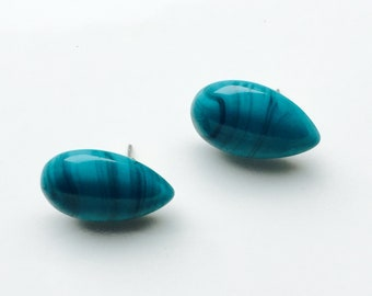 Olive Blue Stud Earrings