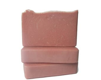 Cherry Blossom Olive Oil Soap - Gift For Her - Colored Pink with Natural Rose Clay