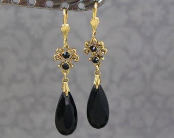 Vintage Repurposed Black and Gold Filigree Dangle Earrings