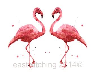 FLAMINGO Print, 8 x 10 imprimer, aquarelles oiseaux, prêts à cadre, décor de maison de plage