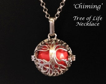 Chiming Tree of Life Necklace - 123, Chimes with Movement - Celtic Tree of Life Cage with a Red Harmony Chime Ball | Harmony Necklace, Gift