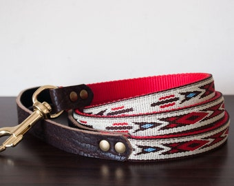 Custom Leather Red/Brown/White Dog Leash. Navajo Red 3/4""