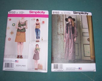 Simplicity 8153 or Simplicity 8165...Dottie Angel Dress, Top and Skirt Patterns...Sizes XS-XL...Maxi Dress with Vest..Uncut...New for 2016..