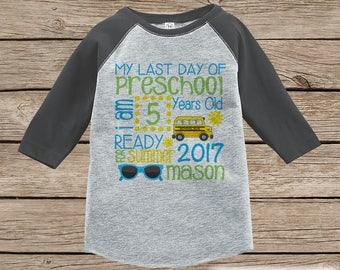 Last Day of Preschool Shirt - Boys Last Day or School Preschool Stats Shirt - Kids Grey Raglan - Boys My Last Day of School Outfit