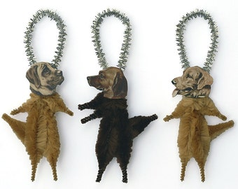 Handmade Dog Ornaments - Christmas Chenille Ornaments - Golden Retriever, Yellow Lab Labrador Retriever