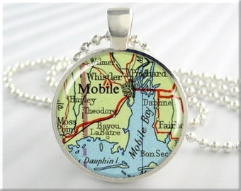 Mobile Map Pendant, Resin Charm, Mobile Alabama Map Necklace, Picture Jewelry, Round Silver, Map Charm, Gift Under 20, Travel Charm 541RS
