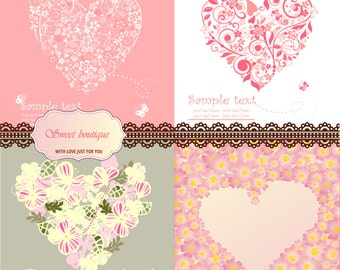 Valentine's Day Digital Card Set of 4 Designs for Scrapbooks, Cards, Collages, Wedding, Valentine's day and More - Hearts 0023