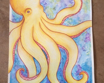 Original Watercolor and Colored Pencil Octopus Painting // 7x10in