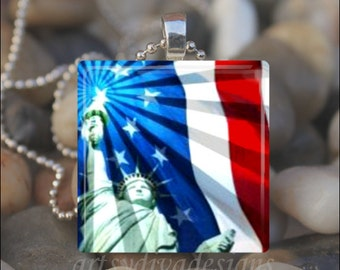 STATUE OF LIBERTY American Flag Fourth of July Patriotic Glass Tile Pendant Necklace Keyring